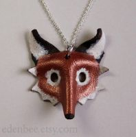 Red fox leather pendant necklace by shmeeden