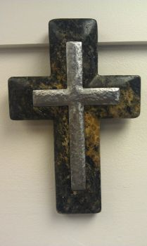 Hand Hammered Steel and Granite Cross by EcoGranite