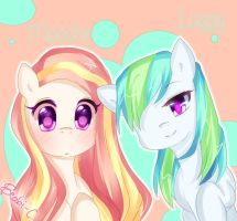 Old Pony Oc's: Laggy and Moochi by beabi-chan