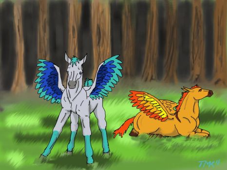 Icarus and Rouge by spottedhorse567