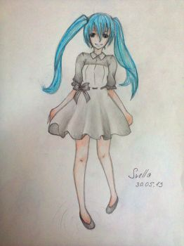 My first art with Miku by AnimeArt99