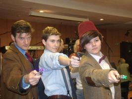 Doctor Who Cosplay: Ten, Jack, Eleven by KnoppGraphics