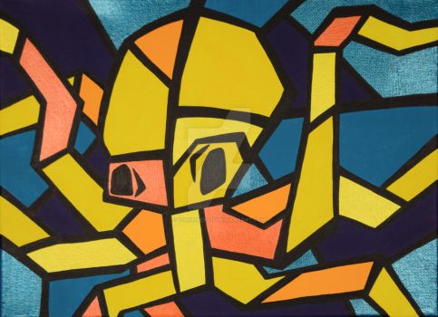 Yellow Cubism Octopus by ToniTiger415