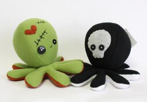 Frankenstein / Zombie and Skeleton octopus plushie by jaynedanger