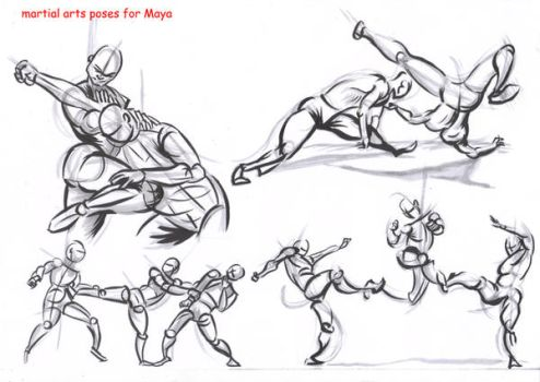 fighting poses for maya08 by AlexBaxtheDarkSide