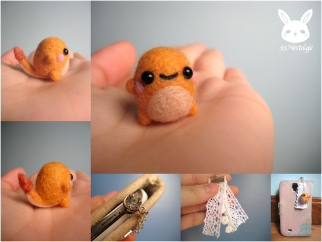 Miniature Felted Charmander Phone Charm by xxNostalgic