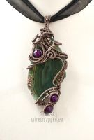 Green and purple agate pendant by ukapala
