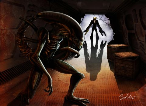 Alien VS Ripley by MightyGodOfThunder