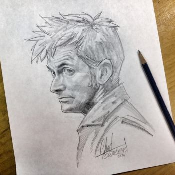 David Tennant The 10th Doctor pencil sketch by ChadTHX1138
