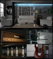 Modern livingroom and ibanez by xsekox