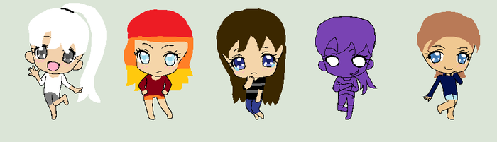 Crystal, Flame, Chris, Purple Girl, and ME! by Crystal-And-Flame