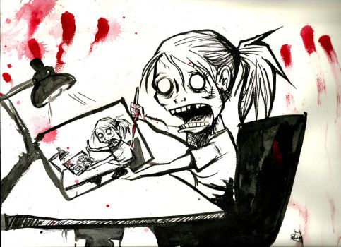Zombie Self Portrait by MaryDoodles