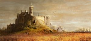 medieval castle by AuDreee