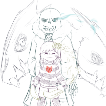 Sketch: The Angel's Guardian (Undertale) by A-Foxi-Reminder
