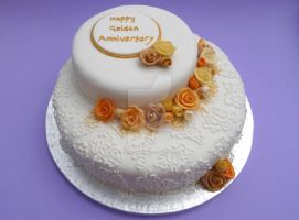 Golden Anniversary Cake by ginas-cakes