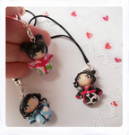 Kokeshi doll inspired phone charms by FairysLiveHere