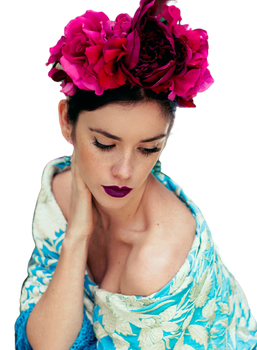 Girl with flowers 2 png by Dea-Avi