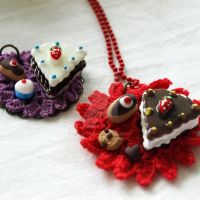 Piece of Cake Necklaces by AndyGlamasaurus