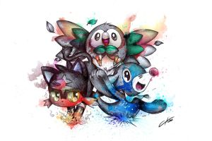 Pokemon Starters : Rowlet, Litten, and Popplio by CKibe