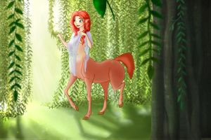 Morning Wakes Her (The red centaur) by Vynndetta