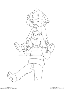 [Undertale] Piggy-back Ride by MCMania332