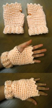 Crochet--Blush Gloves by MiraMonochrome