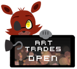 Foxy Art Trades Open Stamp by Ink-cartoon