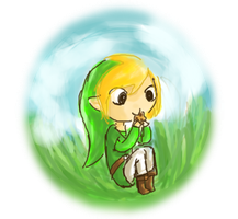 Link eating a cookie by MisSarena