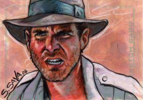 Indiana Jones Sketch Card by ssava