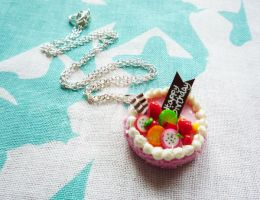 Strawberry Fruit Cake Necklace by Meow-Box