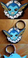 -Etsy- Painted Wooden Laser Cut Vaporeon Keychain by Nortiker