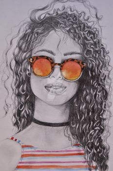 Curly hair girl by abeelhalopes