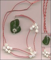 Rose rope and green sea glass by Attackfish