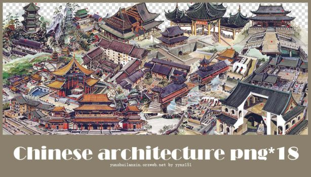 Chinese Architecture png pack #02 by yynx151