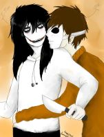 Jeff The Killer and Masky by dollwolf