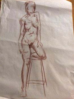 Life drawing of model, long study by Mia-Oneill