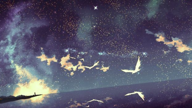 See the the birds on the night sky. by Crazy-Dolphin