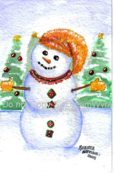 Holiday Snowman Postcard by SwDreamWvr