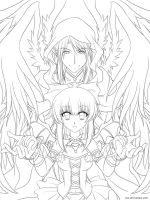 Lineart : Succubus + Seraphim by Zue