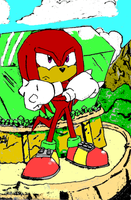 Knuckles Guarding the Master Emerald (Colored) by Th3AntiGuardian