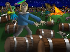 Pewdiepie and the bro army vs BARRELS!!! by Wolfywingedwolf
