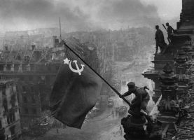 Soviet Flag over the Reichstag by jhansard