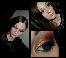 Red gold and green Christmas look by M00N-flower