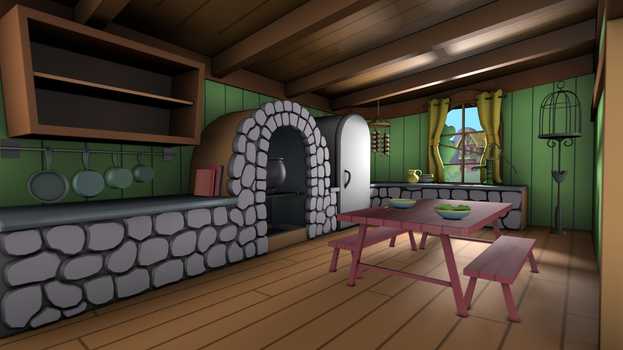 Fluttershy's Cottage - Kitchen by discopears