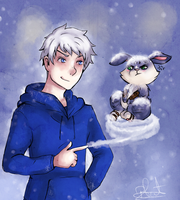 Bunnymund and Jack Frost by saeru-bleuts