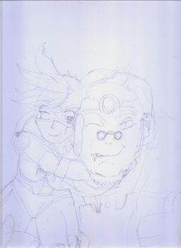 You SAVED me!  Tracer and Winston (OverWatch) wip by Narked