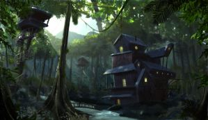 Jungle camp concept art by thepenciler
