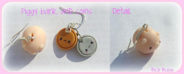 Piggy bank and coins Earrings by Bojo-Bijoux
