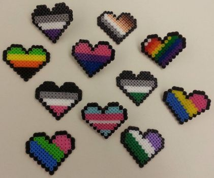 Pride Heart Pins by ykansaki